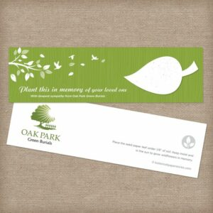 Customizable plantable seed paper sympathy gifts for organizations that want to send condolences to those grieving.