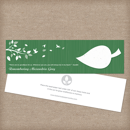 Inspired by simplicity of earthy elements, the Nature's Leaf Memorial Seed Bookmarks will honor the life of a loved one in a symbolic and eco-friendly way.