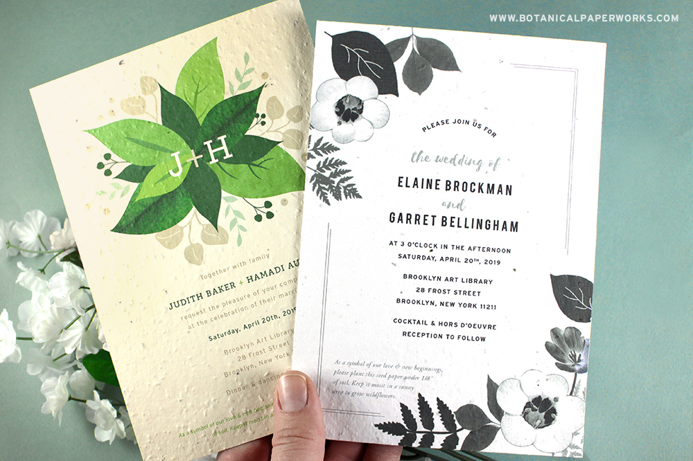 Lush Greenery Seed Paper Wedding Invitations