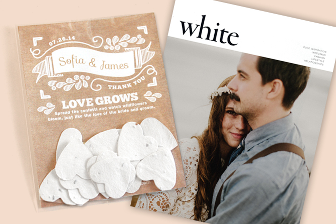 Seed Paper Wedding Favor in White Magazine