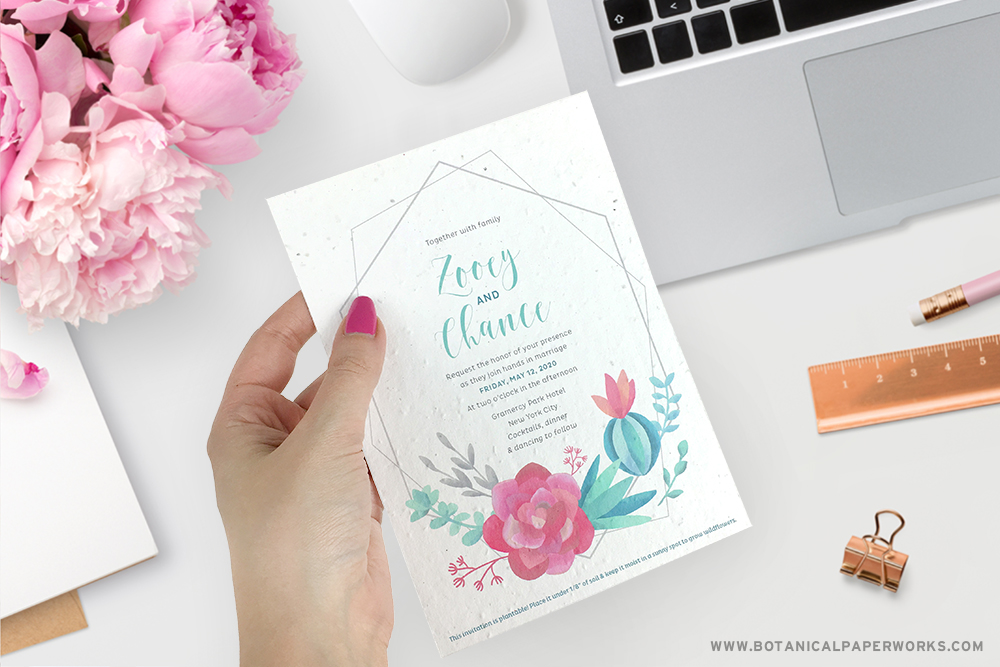 seed paper wedding invitation