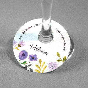 These Painterly Florals Plantable Wine Glass Tags will be an eye-catching addition to your wedding tables and can be planted afterwards to grow wildflowers or herbs!