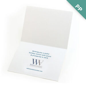 These elegant Peace on Earth Business Holiday Cards feature a printed seed paper Earth shape tucked inside a slot on the front of the card.
