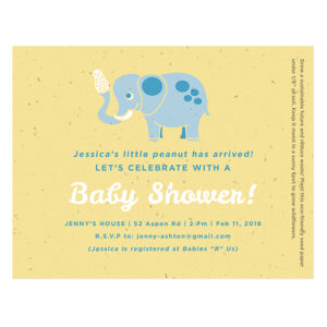 Welcome her little peanut without creating waste with these adorable Little Peanut Seed Paper Baby Shower Invitations.