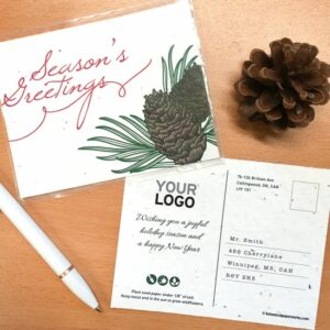 With a traditional and natural style, these beautiful Pinecone Plantable Holiday Postcards are perfect for businesses that want to wish all of their clients and colleagues Season's Greetings in a unique and memorable way.