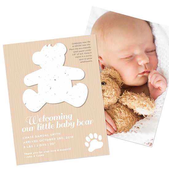 With these Plantable Baby Bear Photo Birth Announcements, friends and family get a keepsake as well as a celebratory gift that grows.