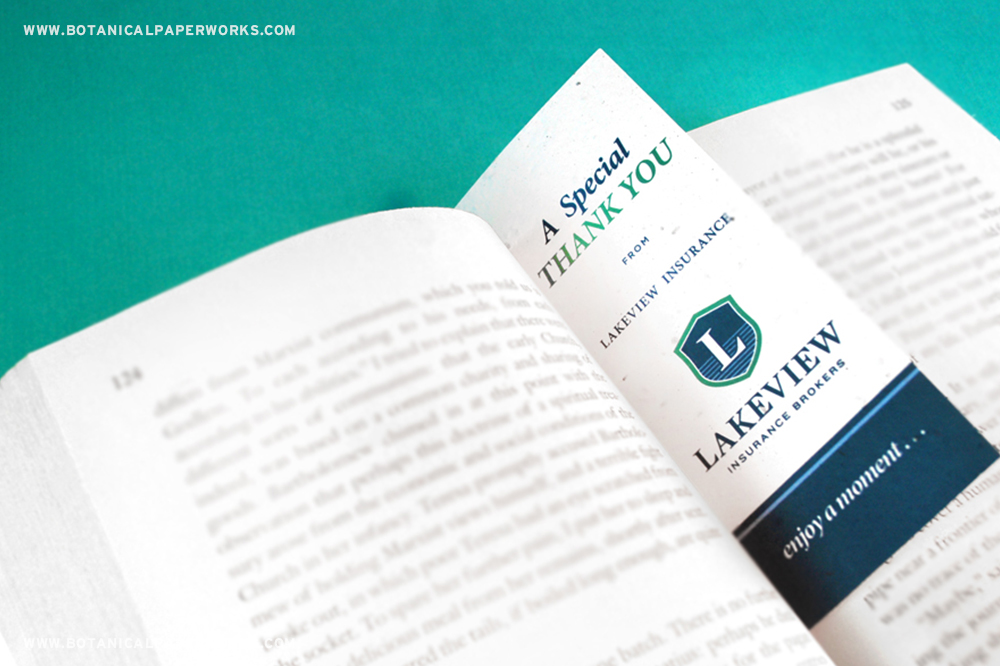 Lakeview Insurance Plantable Seed Paper Bookmarks Promotional Product Case study
