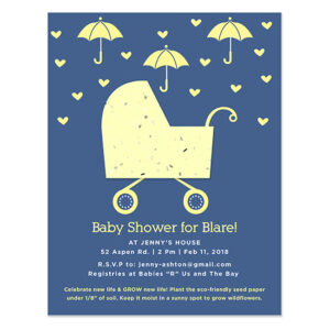 When planted, these Plantable Carriage Baby Shower Invitations will grow wildflowers that create habitats for important pollinators.
