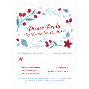 These biodegradable seed paper cards are festive and perfect for collecting replies for your Christmas-themed wedding.