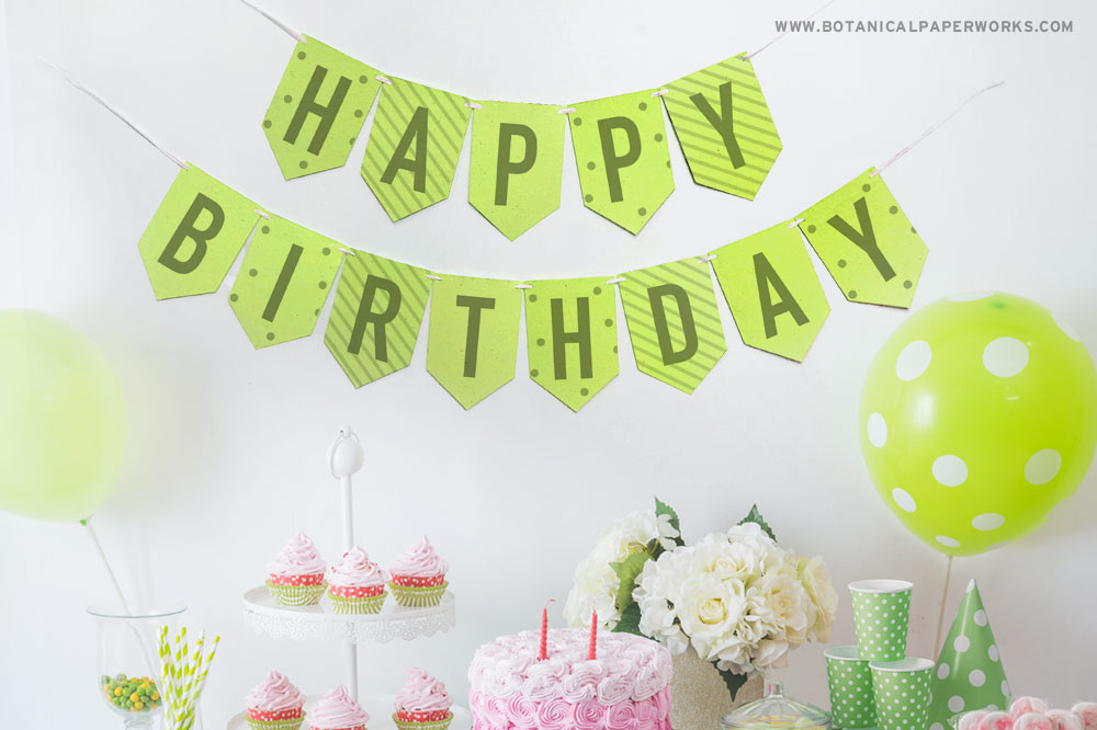 eco-friendly happy birthday party banner