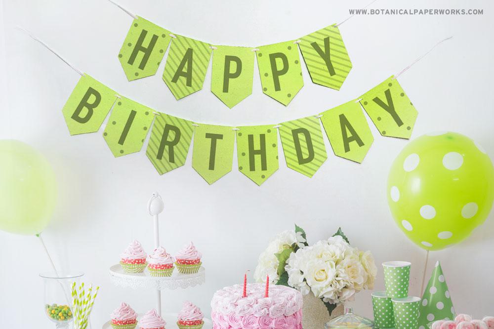 eco-friendly happy birthday party banner