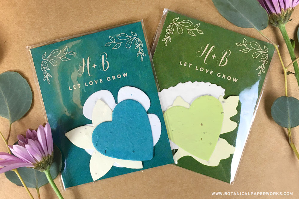 seed paper wedding favors with plantable shapes