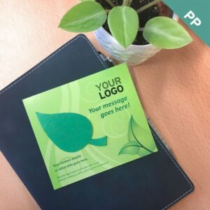 Add-your-logo, custom message, and contact details to this pre-designed eco promotion with plantable leaf shape.