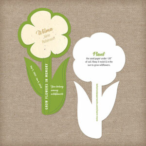 Share and grow flowers in memory of a loved one with these beautiful Plantable Flower Shape Memorial Cards.
