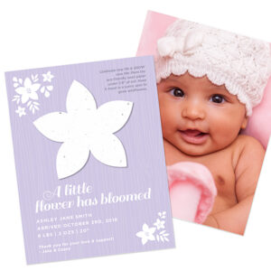With these Plantable Flower Photo Birth Announcements you can share your most fridge worthy picture of your little one as well as a seed paper gift that grows.