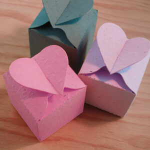 These Heart Box Plantable Wedding Favors recycle themselves into wildflowers when you plant them in a pot of soil.