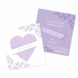 These sweet little cards are perfect for any occasion; they give your guests a seeded shape to plant tucked inside a card with your custom message.