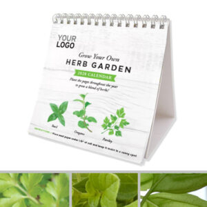 A promotional desk calendar that will grow into a garden of herbs!