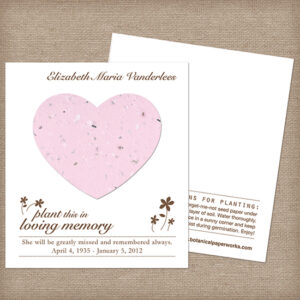 Plantable heart memorial cards