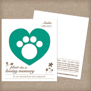 Plantable paw print memorial cards
