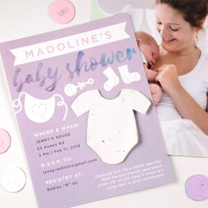 With a plantable onesie shape attached to these Plantable Onesie Baby Shower Invitations, everyone can plant the paper to celebrate the birth of a little one.