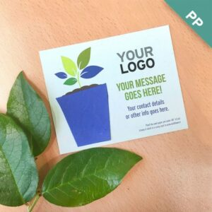Add-your-logo and messaging to this card with plantable pot shape.