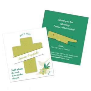 Use these seeded cross gifts as christening favors, baptism favors, or Holy Communion favors to celebrate in a beautiful and symbolic way.