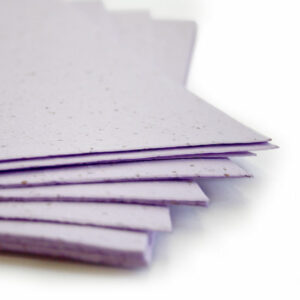 This eco-friendly 11 x 17 Pastel Lavender Plantable Seed Paper is embedded with wildflower seeds.