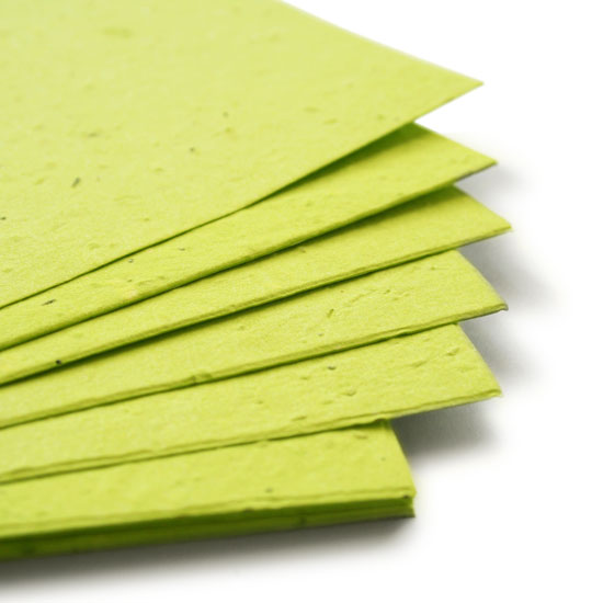 This eco-friendly 11 x 17 Lime Green Plantable Seed Paper is embedded with wildflower seeds.