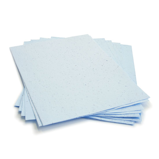 This eco-friendly 8.5 x 11 Pastel Blue Plantable Seed Paper is embedded with wildflower seeds.