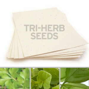 This 8.5 x 11 Cream Edible Tri-Herb Seed Paper grows a trio of herbs when planted.
