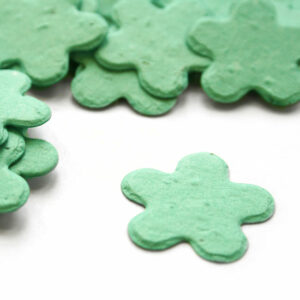 When thrown outside, this biodegradable confetti in aqua will grow into wildflowers.