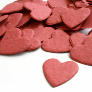 Heart Shaped Plantable Seed Paper Confetti in Brick Red can be taken home with guests to plant!