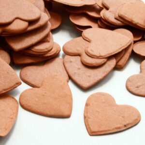 This heart shaped biodegradable confetti is perfect for eco-friendly weddings or as green baby shower favors.