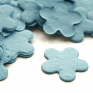 This cornflower blue biodegradable confetti is perfect for an eco-friendly wedding.