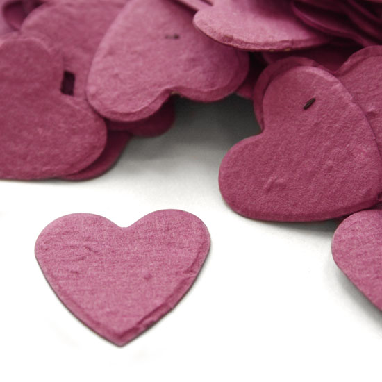 Hheart shapes biodegradable confetti in berry purple makes a great addition to any table decoration!