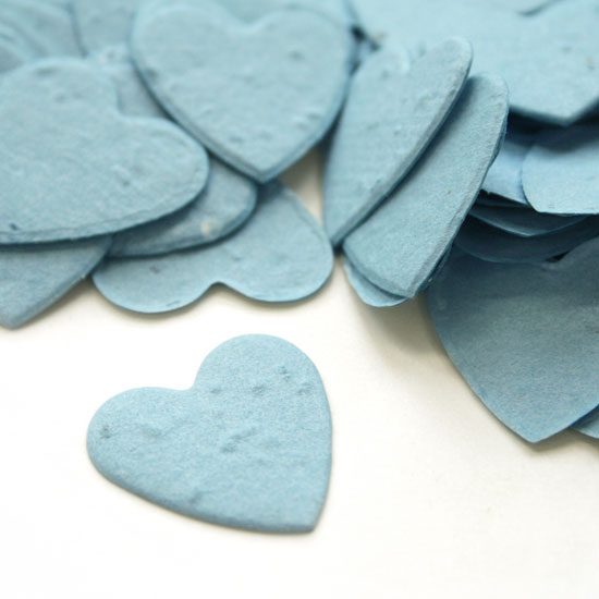 When thrown outside, this heart shaped biodegradable confetti in cornflower blue will grow wildflowers.
