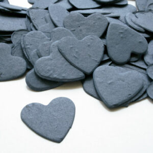 Guests can take this Heart Shaped Plantable Seed Paper Confetti in French Blue home to plant and grow wildflowers!