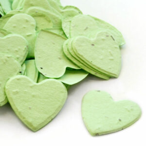 This heart shaped biodegradable confetti in green is eco-friendly, fun and memorable!
