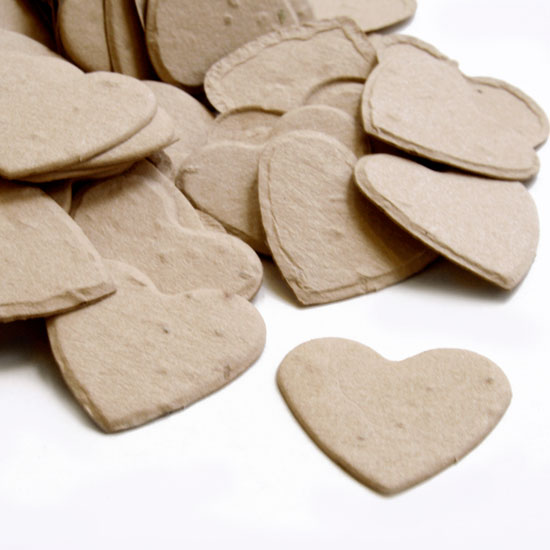 This heart shaped biodegradable confetti in latte brown is fun and eco-friendly!
