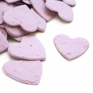 heart shaped biodegradable confetti in lavender makes a great addition to any table decoration.