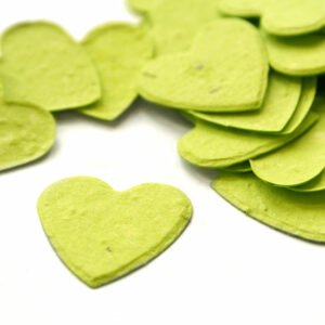 This heart shaped biodegradable confetti in lime green is perfect for eco-friendly weddings!