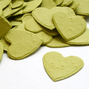 This heart shaped biodegradable confetti in olive green is eco-friendly and fun!