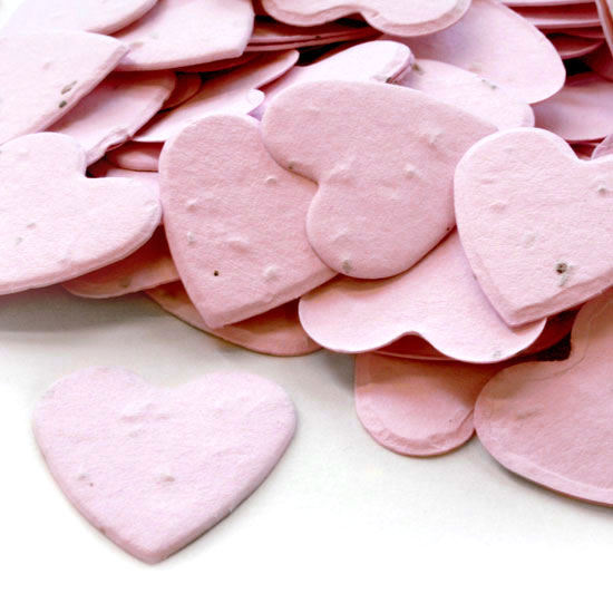 Guests can take this heart shaped biodegradable confettiin pink home to plant and grow wildflowers.