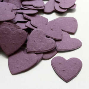 This heart shaped biodegradable confetti in purple is perfect for an eco-friendly wedding or for green baby shower favors.