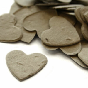 Heart shaped biodegradable confetti in stone grey makes a great addition to any table decoration.