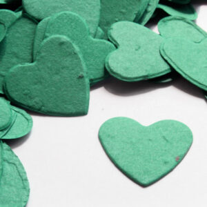 This heart shaped biodegradable confetti in teal makes a great addition to any table decoration.