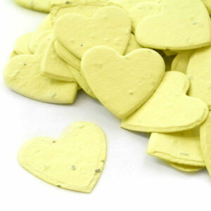 This heart shaped biodegradable confetti in yellow is perfect for green baby shower favors!