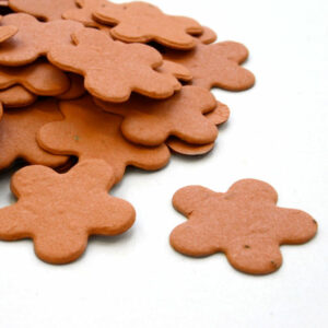 When this d burnt orange biodegradable confetti is thrown outside, it will grow wildflowers.