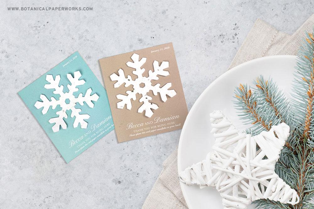 plantable snowflake wedding favors